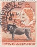 Stamps : Africa : Kenya :  Isabel II y león