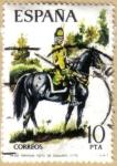 Stamps Spain -  UNIFORMES - Dragon, Regimiento Sagunto 1775