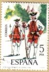 Stamps Spain -  UNIFORMES - Fusilero Regimiento Vitoria 1766