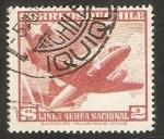 Sellos de America - Chile -  Avión y Bandera nacional