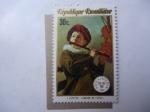 Stamps Rwanda -  Pintura: Joueur de Flúte - Oleo de, J. Leyster.