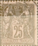 Sellos de Europa - Francia -  Intercambio 1,00 usd 25 cent. 1886