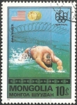 Sellos de Asia - Mongolia -  John Naber, US flag