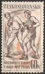 Stamps Czechoslovakia -  Campeonato de Europa insignia Boxeo Praha 1957 *