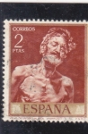 Stamps : Europe : Spain :  viejo desnudo al sol-Fortuny (22)
