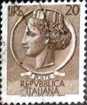 Stamps Italy -  Intercambio 0,20 usd 20 l. 1955