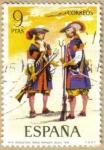 Stamps Spain -  UNIFORMES - Mosqueteros, tercio Morados, viejos 1694