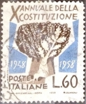 sello : Europa : Italia : Intercambio 0,20 usd 60 l. 1958
