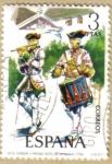 Sellos del Mundo : Europa : España : UNIFORMES - Tambor y Pifamo Rgto. de Granada 1734