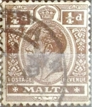Stamps : Europe : Malta :  Intercambio 0,20 usd 1/4 p. 1914