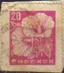Sellos del Mundo : Asia : Corea_del_sur : COREA SUR 1962 Scott236 Sello Flora Planta Hibiscus Rosa de China Usado