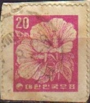 Stamps Asia - South Korea -  COREA SUR 1962 Scott236 Sello Flora Planta Hibiscus Rosa de China Usado