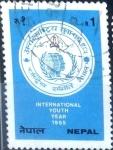 Sellos del Mundo : Asia : Nepal : Intercambio crxf 0,20 usd 1 r. 1985
