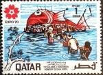 Stamps : Asia : Qatar :  Intercambio jxa 0,45 usd 1 d. 1970