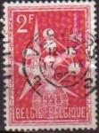 Sellos de Europa - Bélgica -  BELGICA 1958 Scott 500 Sello El Atomo y Emblema Exposición Mundial de Bruselas 2fr Usado Michel 1054