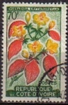 Stamps Africa - Ivory Coast -  COSTA DE MARFIL COTE D'IVORE 1961 Yvert197 Sello Serie Flora mussaenda erythrophylla usado M-229