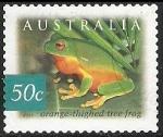 Stamps Australia -  Orange thighed tree frog-rana naranja