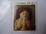 Stamps of the world : Colombia :  La Cayetana - Oleo de Enrique Grau (1920-2004) -  20 Aniversarios, derecho del voto de la mujer en C