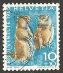 Sellos del Mundo : Europa : Suiza : Pro juventude 1965- Alpine marmot-Marmota