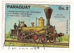 Stamps Paraguay -  150 Aniv. de la 1ª linea publica de ferrocarril. 1825-1975. Locomotora Coloso. Austria.