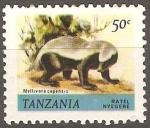 Sellos de Africa - Tanzania -  Mellivora capensis- tejón de la miel