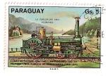 Stamps Paraguay -  150 Aniv. de la 1ª linea publica de ferrocarril. 1825-1975. Locomotora Carlsruhe  1854 Alemania.