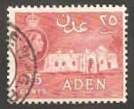 Sellos de Asia - Yemen -  Aden - 52 A - Elizabeth II, y mezquita