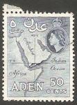 sello : Asia : Yemen : Aden - 54 - Elizaberh II, y Mapa