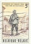 Sellos de Europa - Bélgica -  DIA DEL SELLO 1966. CARTERO DE 1852, OBRA DE J.THIRIAR. YVERT BE 1367