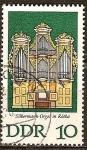 Sellos del Mundo : Europa : Alemania :  Órgano Silbermann.Iglesia de San Jorge , Rötha en Leipzig-DDR.