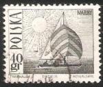 Sellos del Mundo : Europa : Polonia : Amethyst yacht on Masurian Lake
