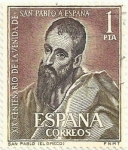Stamps of the world : Spain :  XIX CENTENARIO VENIDA DE SAN PABLO A HISPANIA. SAN PABLO, DE EL GRECO. EDIFIL 1493