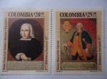 Stamps Colombia -  Oidor, Francisco Antonio Moreno y el Virrey, Manuel de Guirior - 1777Biblioteca Nacional 1977