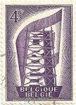 Sellos de Europa - Bélgica -  SERIE EUROPA CEPT 1956. CONSTRUYENDO EUROPA, VALOR FACIAL 4 BEF. YVERT BE 995