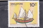 Stamps Singapore -  barco