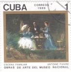 Sellos de America - Cuba -  obra de arte- escena familiar