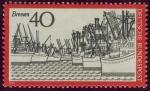Stamps Germany -  ALEMANIA - Ayuntamiento y estatua de Rolan en la Plaza del mercado en Bremen
