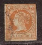 Stamps : Europe : Spain :  Isabel II 4 cuartos 1860
