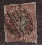 Stamps : Europe : Spain :  Isabel II 4 cuartos 1855