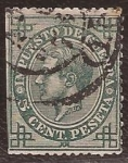 Stamps Europe - Spain -  Alfonso XII. Impuesto de guerra 1876 5 cents