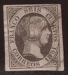 Stamps Europe - Spain -  Isabel II 6 cuartos - 1 enero 1851