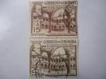 Stamps Colombia -  III Centenario del Colegio Mayor de Nuestra Señora del Rosario-Bogotá 1653-1953 - Claustro y Estatua