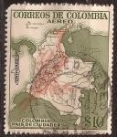 Stamps Colombia -  Mapa de Colombia Pais de Ciudades 1959 aéreo 10 pesos