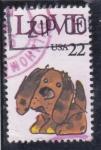 Sellos de America - Estados Unidos -  LOVE-ilustración perro