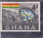 Stamps Ghana -  mina de diamantes