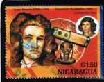 Sellos del Mundo : America : Nicaragua : ISAAC NEWTON 1642-1726  TELESCOPIO DE NEWTON 1688