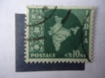 Stamps India -  Mapa.