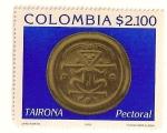 Sellos del Mundo : America : Colombia : Arte precolombino. Pectoral redondo de Tairona.