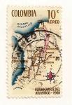Sellos del Mundo : America : Colombia : Mapa de ferrocarriles Colombia.