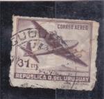Sellos de America - Uruguay -  avión cuatrimotor